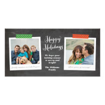 Two Photo Washi Tape Chalkboard Holiday Photo Card