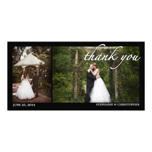 Two Photo Wedding Thank You Photocard Photo Greeting Card
