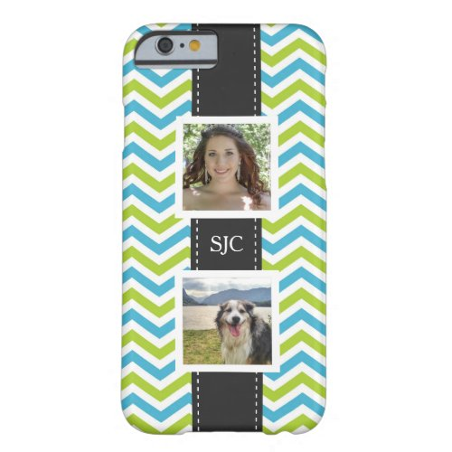 Two Photos and Initials Blue Lime Chevron Phone Case