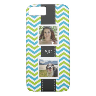 Two Photos and Initials Blue Lime Chevron iPhone 8/7 Case