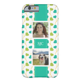 Two Photos and Initials Blue Lime Hearts Barely There iPhone 6 Case