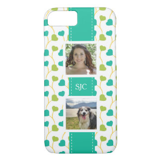 Two Photos and Initials Blue Lime Hearts iPhone 8/7 Case