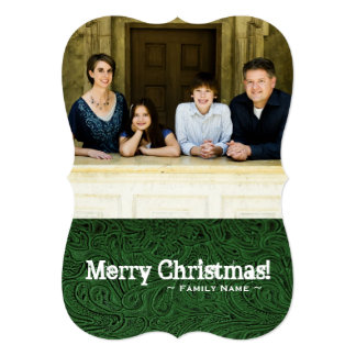 Two Photos Green Tooled Leather Look Holiday Card