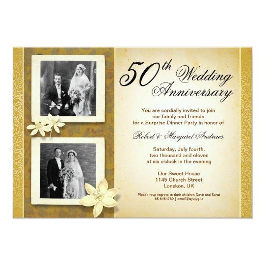50th Wedding Anniversary Invitations: Two Photos Wedding Anniversary Invitations