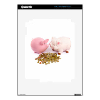 Two piggy banks with euro coins on white decal for iPad 2