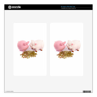 Two piggy banks with euro coins on white decal for kindle fire