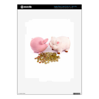 Two piggy banks with euro coins on white iPad 3 skin