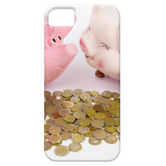 Two piggy banks with euro coins on white iPhone SE/5/5s case