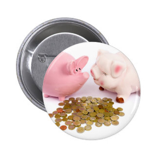 Two piggy banks with euro coins on white pinback button