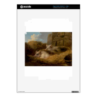 Two Pigs in Straw (Barn with Pigs) by George Morla iPad 2 Skin