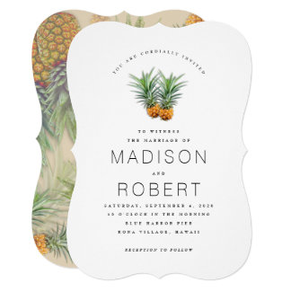 Two Pineapples Hawaiian theme Wedding Invitations