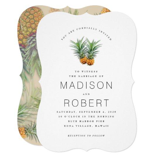 Wedding Invitations Hawaii: Two Pineapples Hawaiian Theme Wedding Invitations