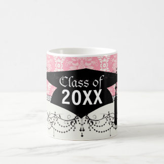 two pink and cream elegant damask graduation mugs
