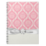 two pink and cream elegant damask spiral notebooks