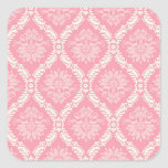 two pink and cream elegant damask square sticker