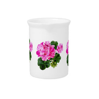Two Pink and White Striped Geraniums Beverage Pitcher