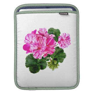 Two Pink and White Striped Geraniums Sleeves For iPads