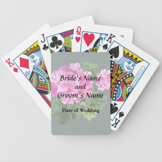 Two Pink and White Striped Geraniums Wedding Bicycle Playing Cards