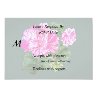 Two Pink and White Striped Geraniums Wedding Card