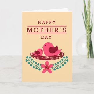 Two Pink Birds Mother's Day Card