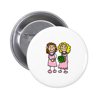 Two Pink Brides Button