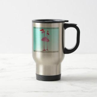 Two Pink Christmas Flamingos Coffee Mug