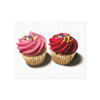 Two Pink Cupcakes Canvas Print