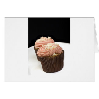 two pink cupcakes greeting cards