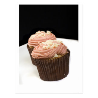 two pink cupcakes post cards