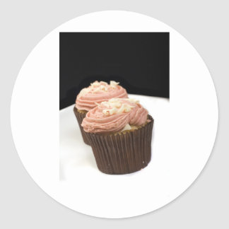 two pink cupcakes round stickers