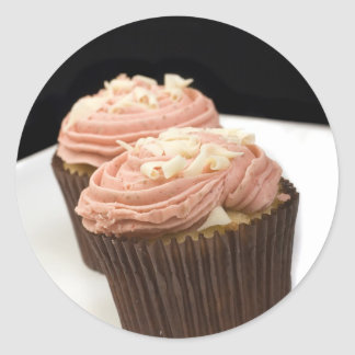 two pink cupcakes stickers
