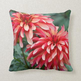 Two pink dahlia flowers throw pillow