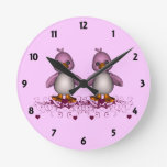 Two Pink Ducks Childrens Learning Round Clocks