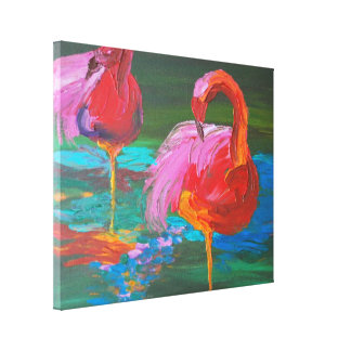Two Pink Flamingos on Green Lake (K.Turnbull Art) Stretched Canvas Print