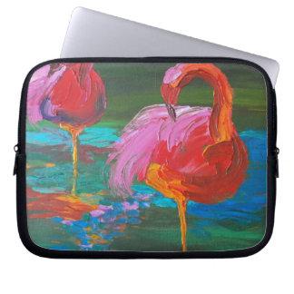 Two Pink Flamingos on Green Lake (K.Turnbull Art) Computer Sleeve