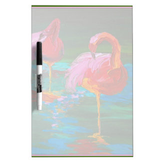 Two Pink Flamingos on Green Lake (K.Turnbull Art) Dry Erase Board