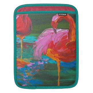 Two Pink Flamingos on Green Lake (K.Turnbull Art) iPad Sleeves