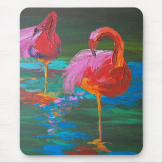 Two Pink Flamingos on Green Lake (K.Turnbull Art) Mouse Pad