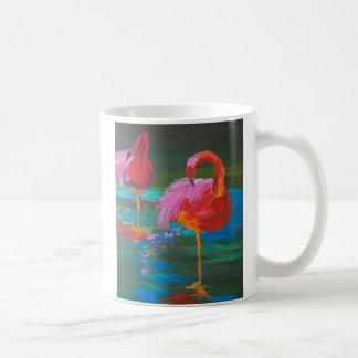Two Pink Flamingos on Green Lake (K.Turnbull Art) Classic White Coffee Mug
