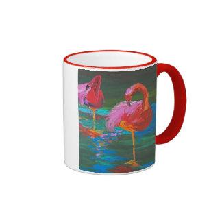 Two Pink Flamingos on Green Lake (K.Turnbull Art) Ringer Coffee Mug