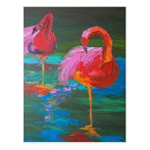 Two Pink Flamingos on Green Lake (K.Turnbull Art) Postcard