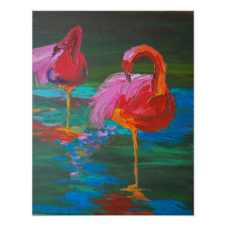 Two Pink Flamingos on Green Lake (K.Turnbull Art) Print