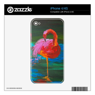 Two Pink Flamingos on Green Lake (K.Turnbull Art) Skin For iPhone 4S