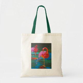 Two Pink Flamingos on Green Lake (K.Turnbull Art) Tote Bag