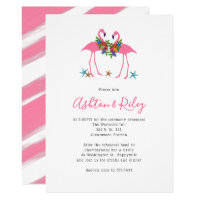 Two Pink Flamingos Rehearsal Dinner Invitations