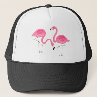 Two Pink Flamingos Simple Illustration Trucker Hat