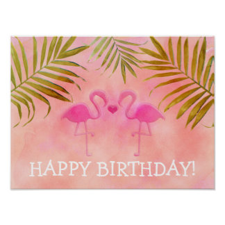 Two Pink Flamingos Tropical Beach Party Banner Poster