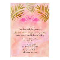 Two Pink Flamingos Watercolor Wedding Invitations
