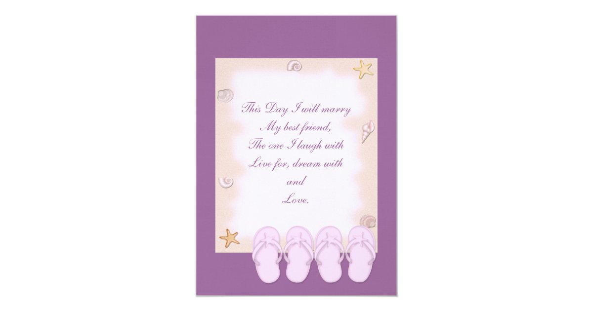 Two Pink Flip Flops Wedding Invitation Zazzle