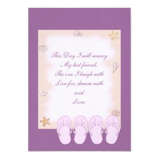 Two Pink Flip Flops Wedding Invitation
